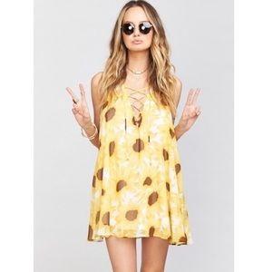 Show me your mumu lace up sunflowers dress